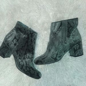 Zigi Soho embroidered dark green velvet booties